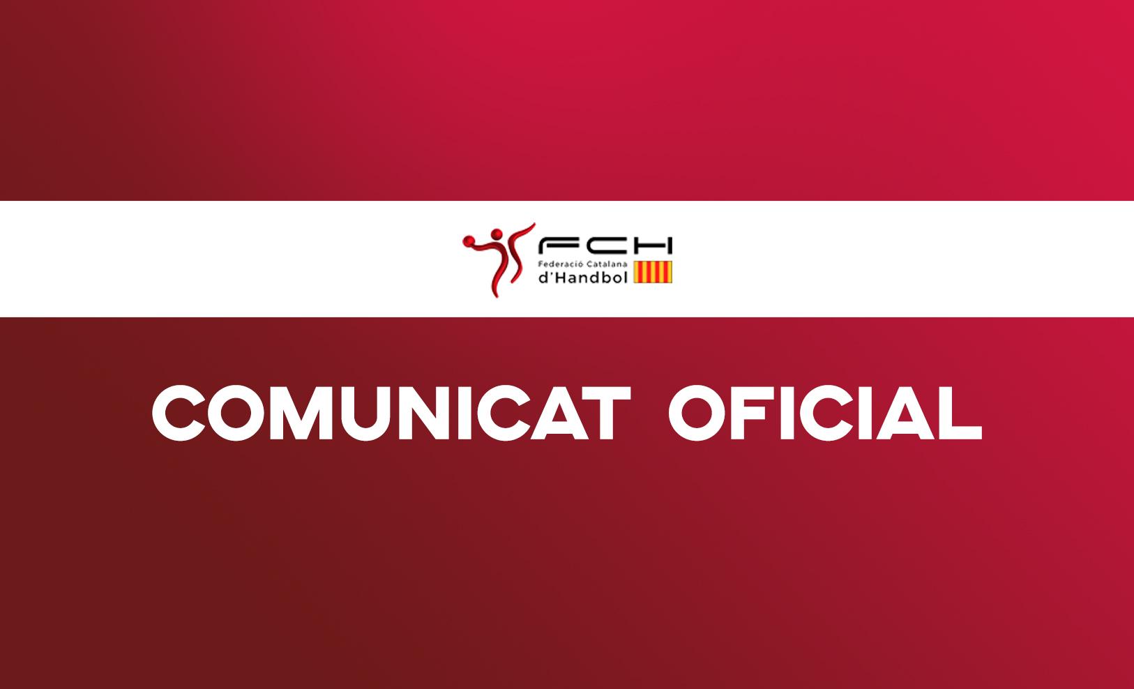 COMUNICAT OFICIAL DE LA FCH